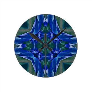 Pretty Royal Blue Cross Shape Pattern Round Clock
