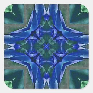 Pretty Royal Blue Cross Shape Pattern Square Sticker