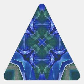 Pretty Royal Blue Cross Shape Pattern Triangle Sticker