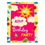 Pretty RSVP - BIRTHDAY PARTY postcard