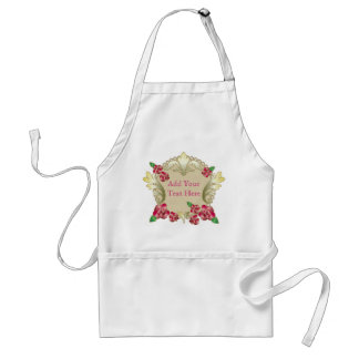 Pretty Ruby Red Roses Gold Ornament Pearls Stripes Adult Apron