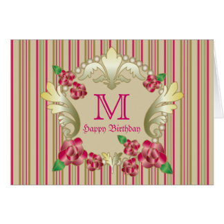 Pretty Ruby Red Roses Gold Ornament Pearls Stripes Card