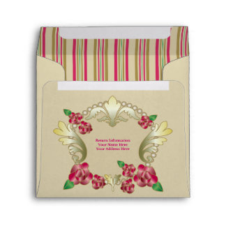 Pretty Ruby Red Roses Gold Ornament Pearls Stripes Envelope