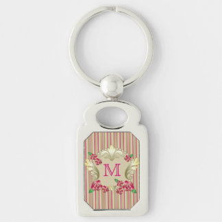 Pretty Ruby Red Roses Gold Ornament Pearls Stripes Keychain
