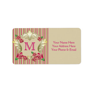 Pretty Ruby Red Roses Gold Ornament Pearls Stripes Label