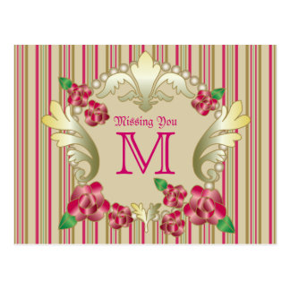 Pretty Ruby Red Roses Gold Ornament Pearls Stripes Postcard