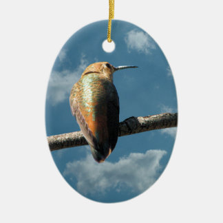 Pretty Rufous Hummingbird Ceramic Ornament