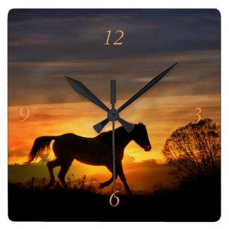 Pretty Running Horse in a Southwestern Sunrise Square Wall Clock