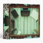 Pretty Rustic Aqua Book Typewriter Writing Binder