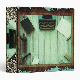 Pretty Rustic Aqua Book Typewriter Writing Binder