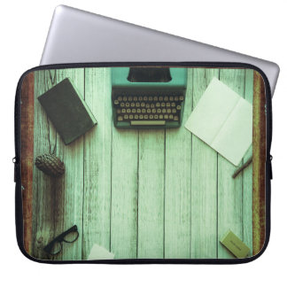 Pretty Rustic Aqua Book Typewriter Writing Laptop Sleeve