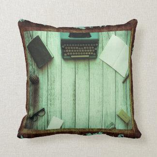 Pretty Rustic Aqua Book Typewriter Writing Throw Pillow