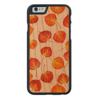 Pretty Rustic Autumn Leaves Carved Cherry iPhone 6 Case