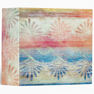 Pretty Rustic Pink and Blue Seashell Petal Wood Binder