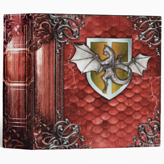 Pretty Rustic Red Dragon Scale Ancient Tome 3 Ring Binder