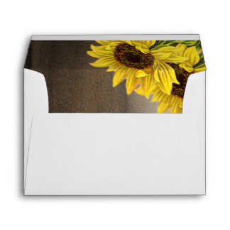 Pretty Rustic Sunflower Wedding Envelope