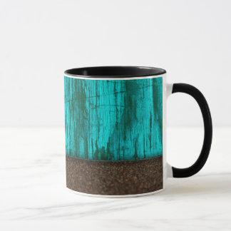 Pretty Rustic Turquoise Wood Grain Sandstone Mug