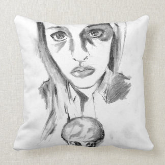 Pretty Sad Girl with Melting Ice Cream Cone Sketch Throw Pillow