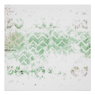 Pretty Sage and White Grunge Abstract Poster