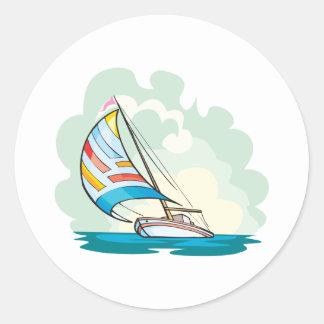 pretty sailboat sailing in the sea classic round sticker