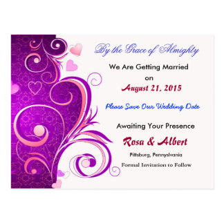 Pretty Save the Date Wedding Postcard (Purple)