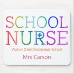 "Pretty School Nurse Typography Personalized Mouse Pad<br><div class=""desc"">Personalized School Nurse Rainbow Typography Mouse Pad for Desk. Watercolor texture rainbow letters spelling SCHOOL NURSE. Personalized with school,  name or other information. Fun gift for your favorite school nurse. Colorful and modern typography.</div>"