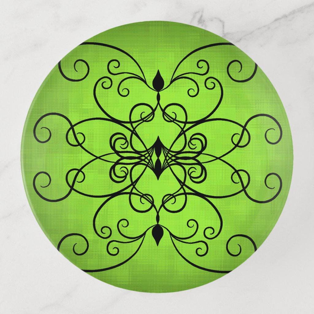 Pretty scroll work design green trinket trays