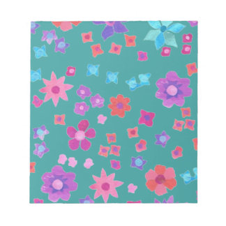 Pretty Sea Green Flower-Power Notepad or Jotter