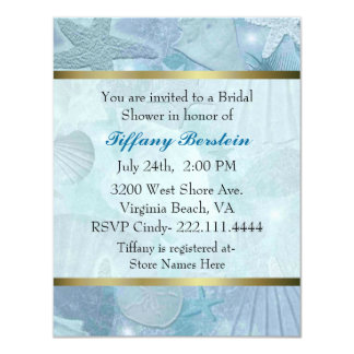 Pretty Sea Shell Themed Bridal Shower Card