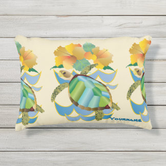 Pretty Sea Turtle Tropical Yellow Hibiscus Flowers Outdoor Pillow