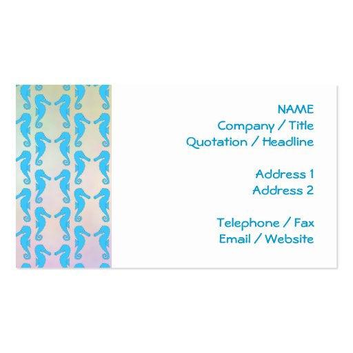 Pretty Seahorse Pattern. Blue and Pastel Multi. Business Card Templates