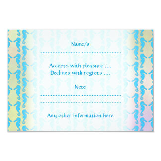 Pretty Seahorse Pattern. Blue and Pastel Multi. Card