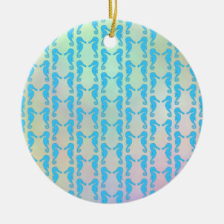 Pretty Seahorse Pattern. Blue and Pastel Multi. Christmas Ornaments