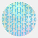 Pretty Seahorse Pattern. Blue and Pastel Multi. Sticker