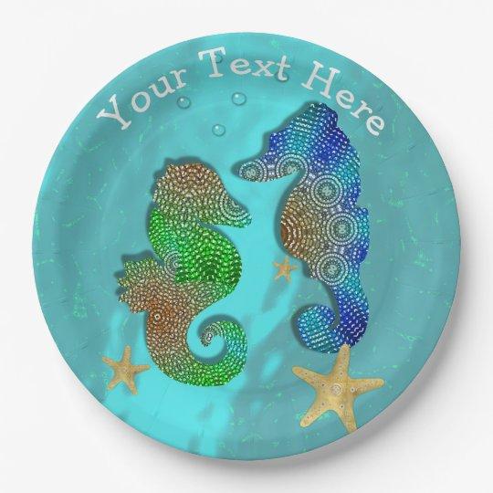 Pretty Seahorses Swimming In Blue Sea Paper Plate  sc 1 st  Zazzle & Pretty Seahorses Swimming In Blue Sea Paper Plate | Zazzle.com
