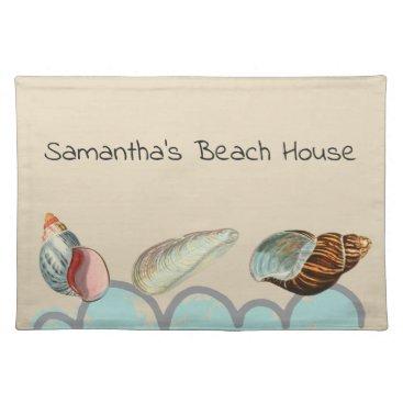 Beach Themed Pretty Seashells at the Beach Placemat