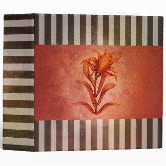 Pretty Sepia Vintage Striped Lily Flower Binder
