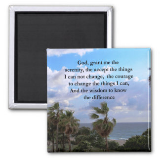 PRETTY SERENITY PRAYER PALM TREE PHOTO DESIGN MAGNET