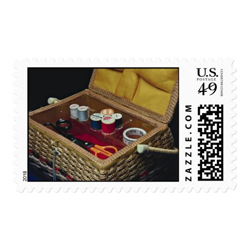 Pretty Sewing basket Postage Stamps