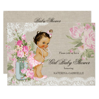 Pretty Shabby Chic Lace Floral Baby Shower Card