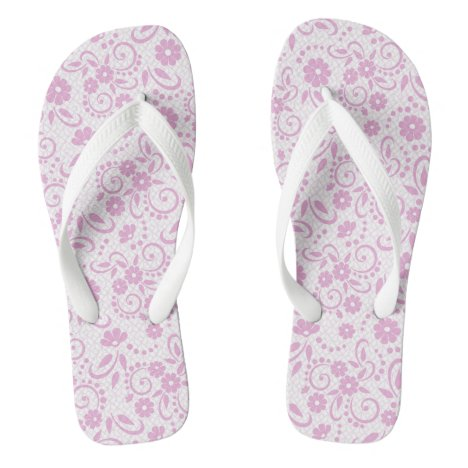 Pretty shabby chic pink and white floral flip flops