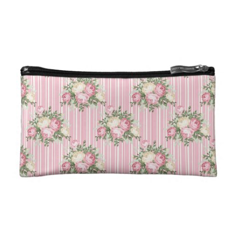 Pretty Shabby Chic pink rose bouquet Cosmetic Bag