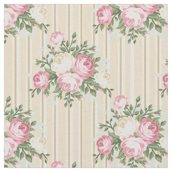 Pretty Shabby Chic Pink Roses on beige background Fabric