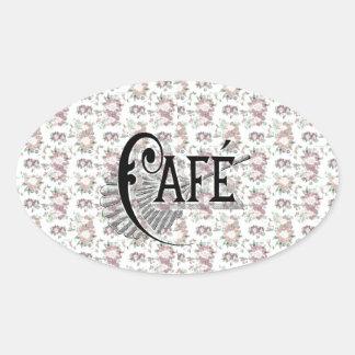 Pretty Shabbychic French Floral Café Design Oval Sticker