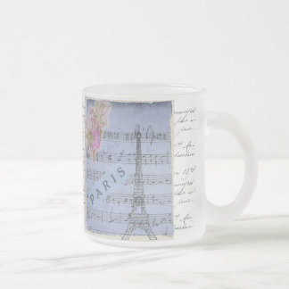 Pretty Shabbychic French Paris Blue Collage Design Frosted Glass Coffee Mug