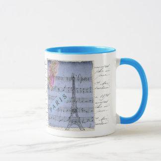 Pretty Shabbychic French Paris Blue Collage Design Mug