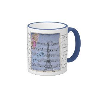 Pretty Shabbychic French Paris Blue Collage Design Ringer Mug