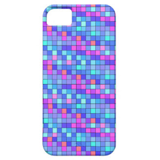 Pretty Shades of Blue and Pink Grid Pattern iPhone 5 Covers