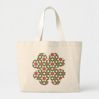 Pretty shamrock and hearts design large tote bag