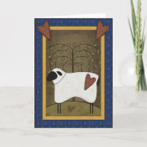 Pretty Sheep Country Scene - Blank Inside Holiday Card